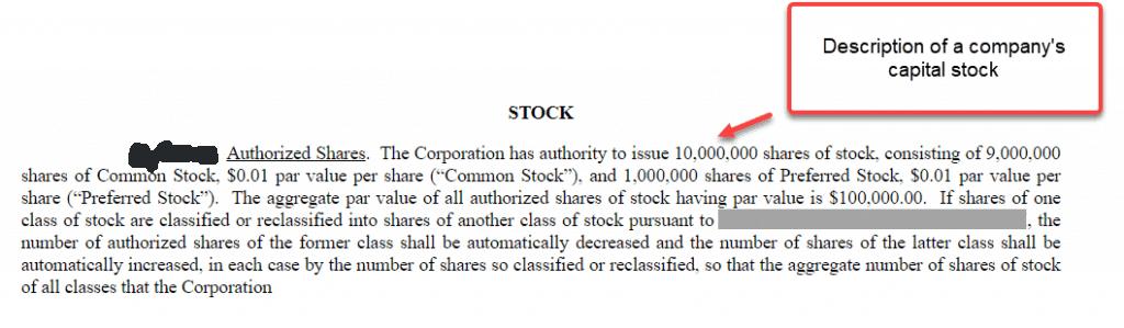 Capital stock charter