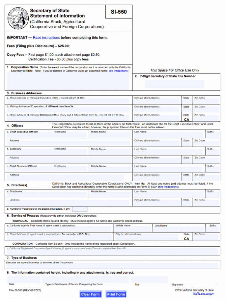 California Statement of Information (Corporation) - Form from California Secretary of State