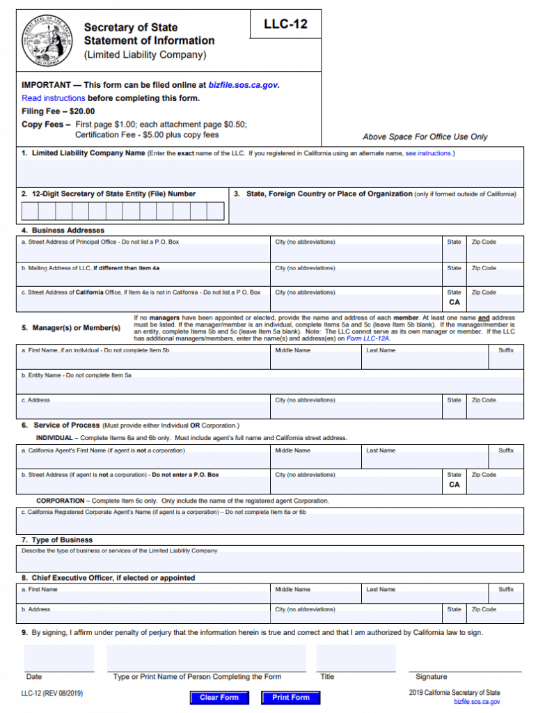 California Statement of Information (LLC) - Form from California Secretary of State