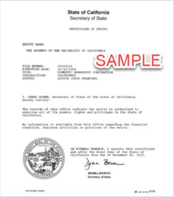 Certificate of good standing sample