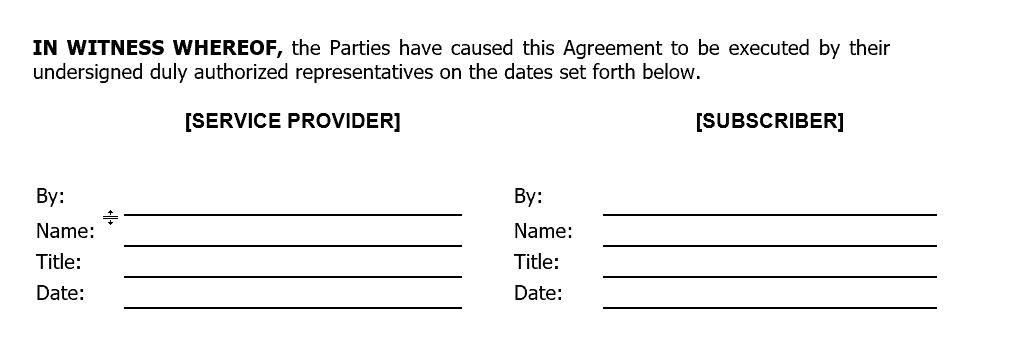 Contract language: Signature block