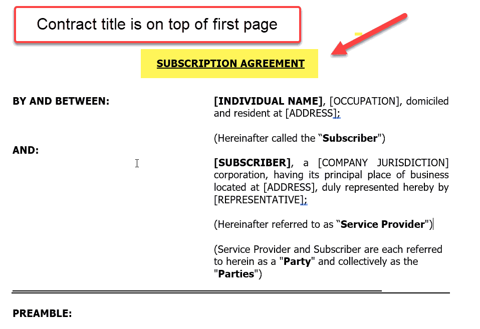 Contract language title