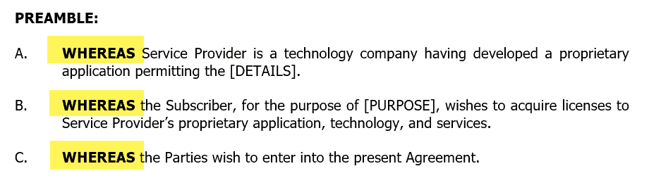 Contract language: Whereas