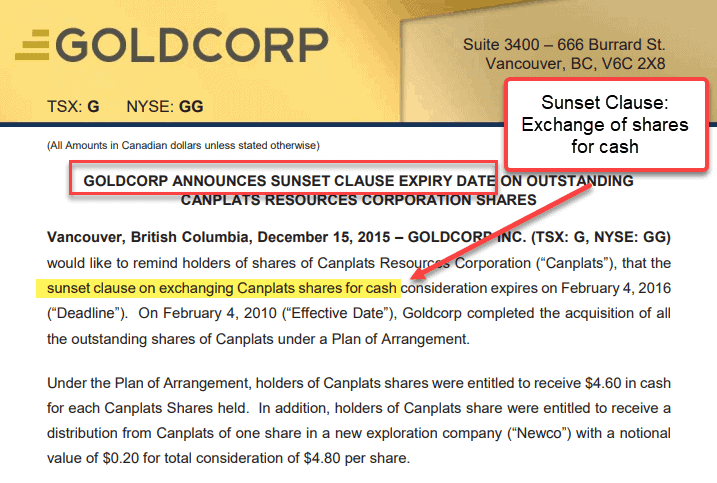 Sunset clause exchange of shares