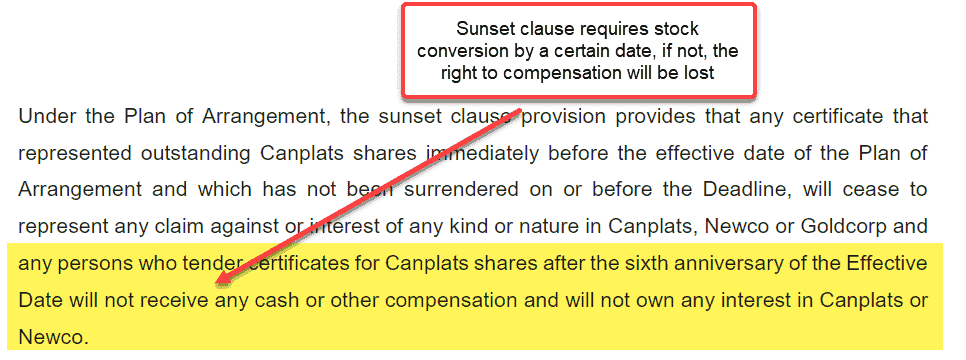 Sunset clause stock conversion loss of compensation