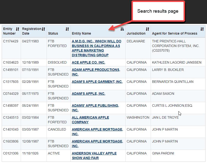 California corporation search - 3 entity search results page