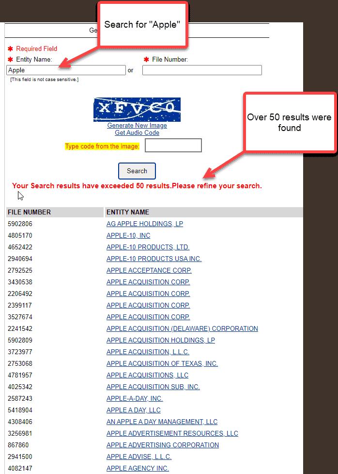 Delaware corporation search - Business entity search results
