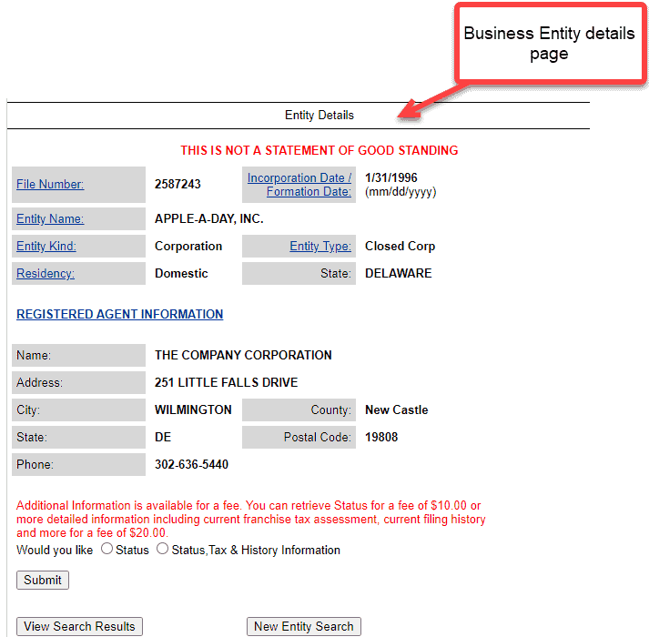 Delaware corporation search - Business entity details page