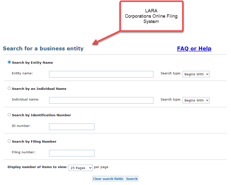 Michigan business entity search using filing number - 1 Access LARA