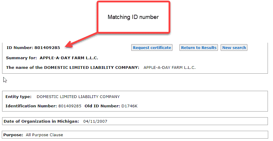 Michigan business entity search - 10 matching business ID number