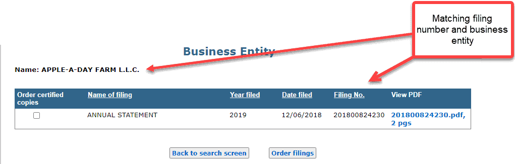 Michigan business entity search - 12 matching filing number