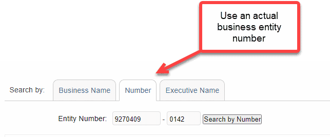 Search with business number - Utah business entity search