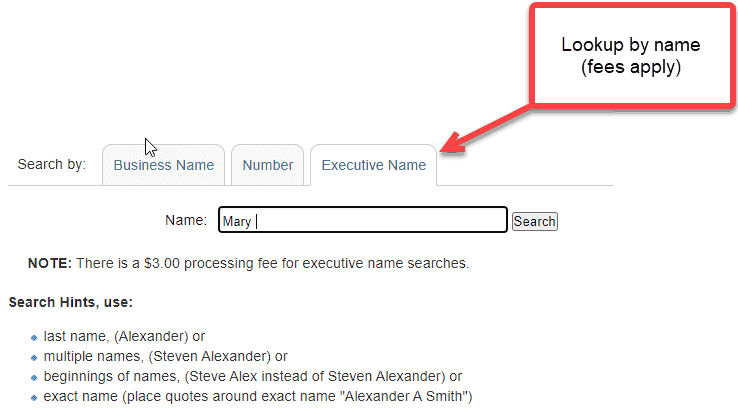 Search with executive name - Utah business entity search