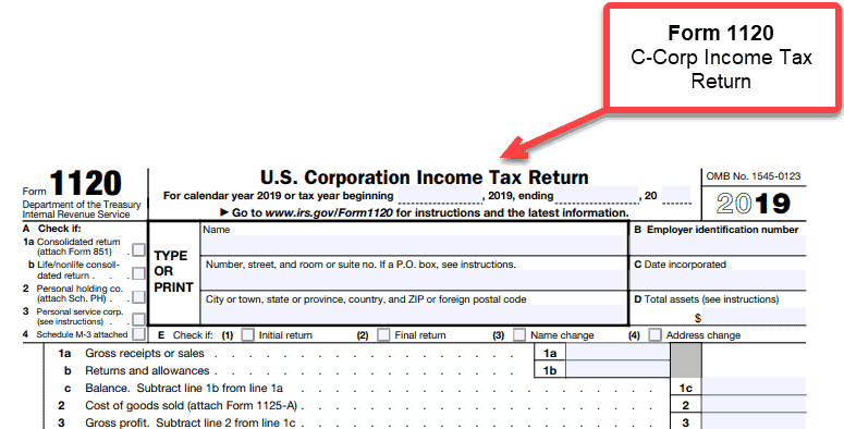 C Corporation - 1 corporate income tax return Form 1120