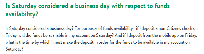 Is Saturday a business day - Citizens
