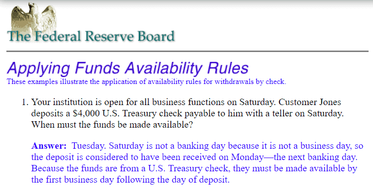 Is Saturday a business day - Federal Reserve fund availability rule