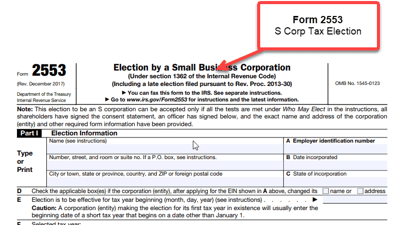 S Corporation - 1 Form 2553 tax election