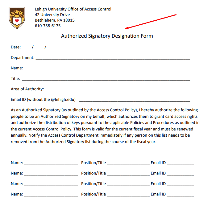 Authorized signatory - Designation form