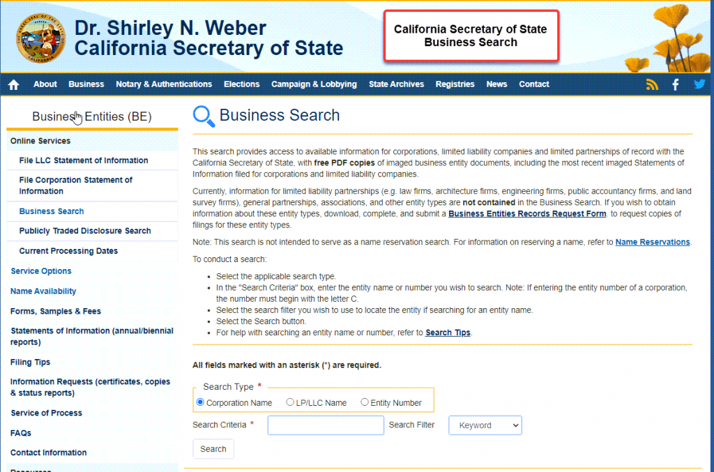 California Secretary of State Business Search  - Step 1 Business Search Registry