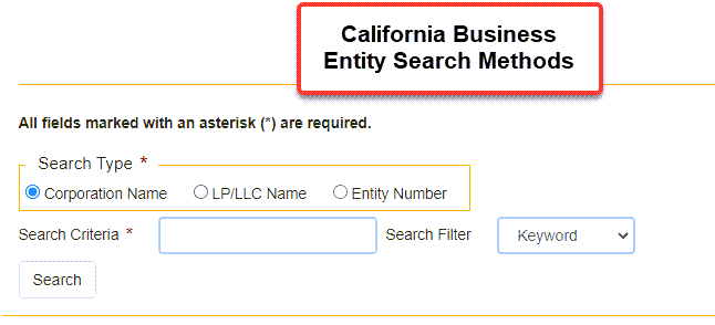 California Secretary of State Business Search  - Step 2 Database search methods