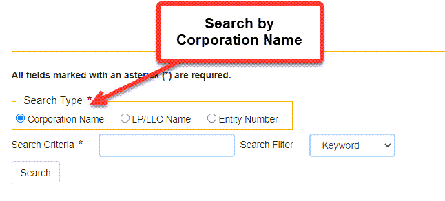 California Secretary of State Business Search  - Step 2 Method 1 Search by Corporation Name