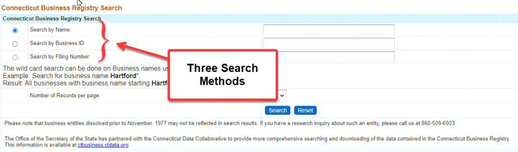 Connecticut Secretary of State Business Search - Step 2 Database search methods