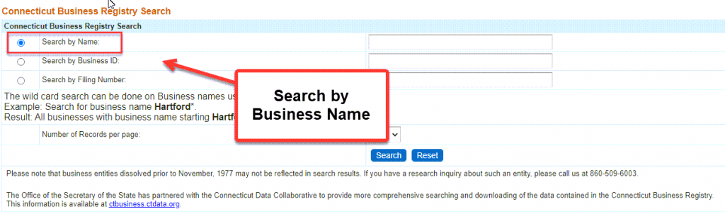 Connecticut Secretary of State Business Search - Step 2 Method 1 Search by entity name