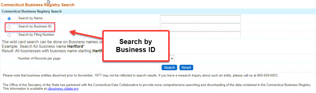 Connecticut Secretary of State Business Search - Step 2 Method 2 Search by Business ID