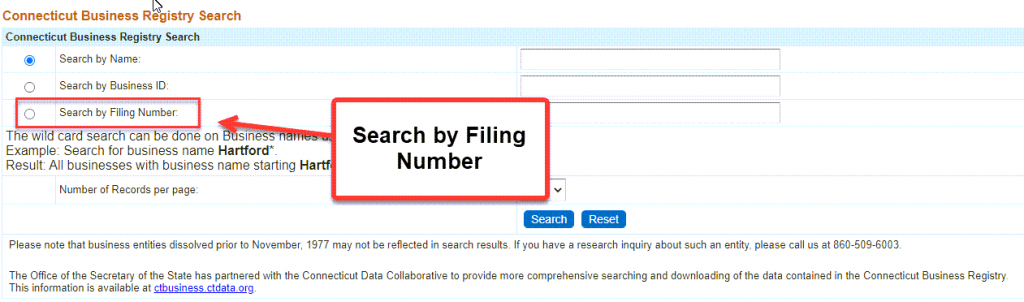 Connecticut Secretary of State Business Search - Step 2 Method 3 Search by Filing Number