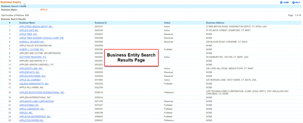 Connecticut Secretary of State Business Search - Step 3 Search results