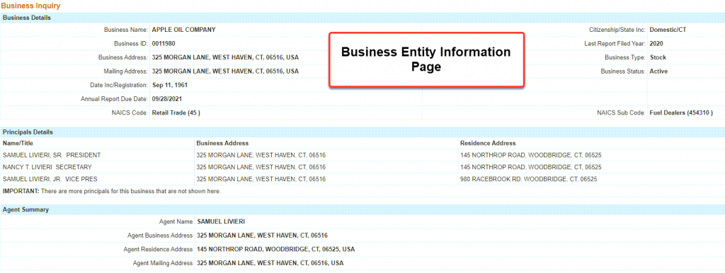 Connecticut Secretary of State Business Search - Step 5 Business entity information
