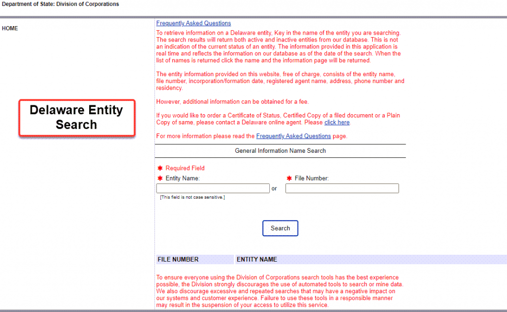Delaware Entity Search - Step 1 Business Search Registry