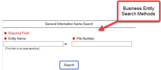 Delaware Entity Search - Step 2 Database search methods