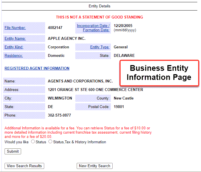 Delaware Entity Search - Step 5 Business entity information
