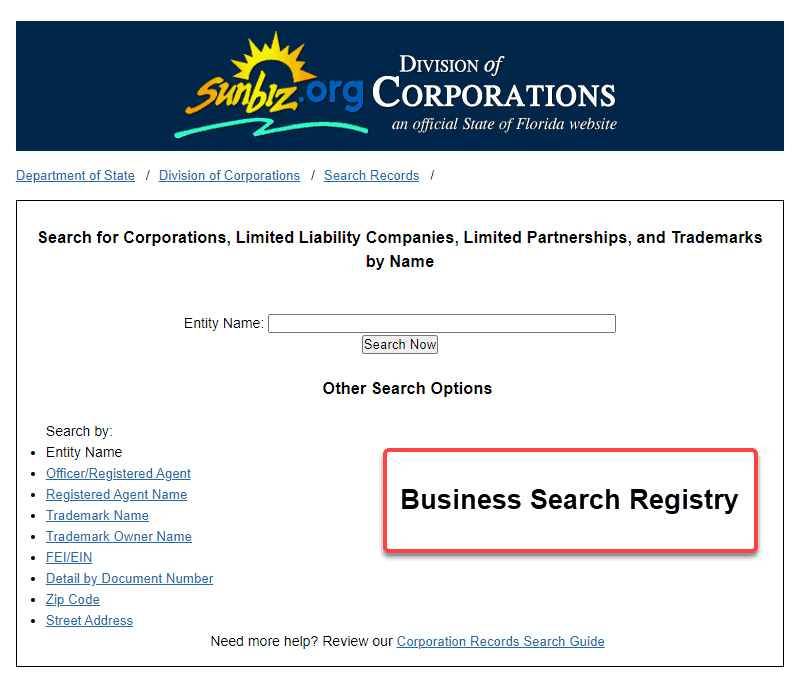 Florida Secretary of State Business Search - Step 1 Business Search Registry