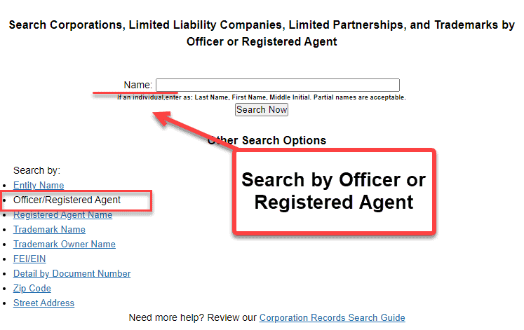 Florida Secretary of State Business Search - Step 2 Method 2 Search by Officer or Registered Agent