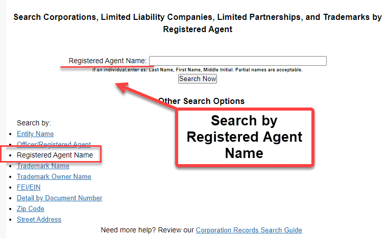 Florida Secretary of State Business Search - Step 2 Method 3 Search by Registered Agent Name