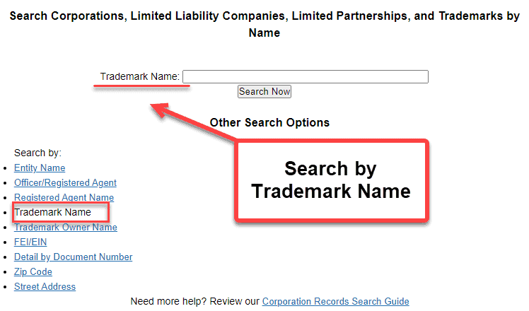 Florida Secretary of State Business Search - Step 2 Method 4 Search by Trademark Name