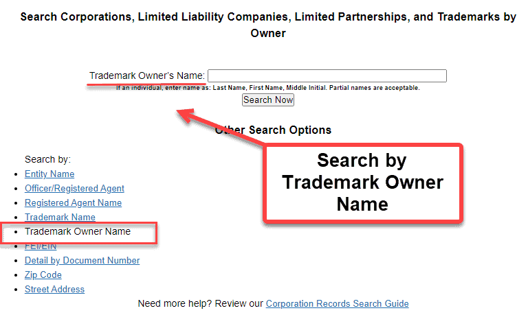 Florida Secretary of State Business Search - Step 2 Method 5 Search by Trademark Owner Name