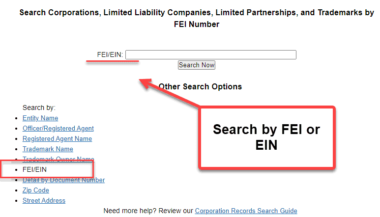 Florida Secretary of State Business Search - Step 2 Method 6 Search by FEI or EIN