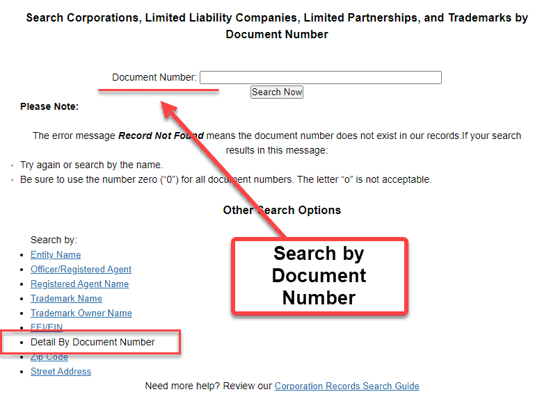Florida Secretary of State Business Search - Step 2 Method 7 Search by Document Number