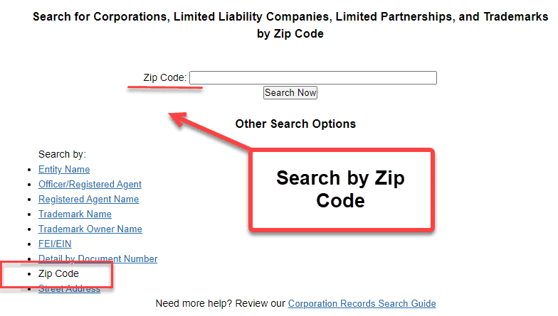 Florida Secretary of State Business Search - Step 2 Method 8 Search by Zip Code