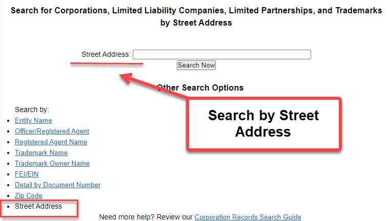 Florida Secretary of State Business Search - Step 2 Method 9 Search by Street Address