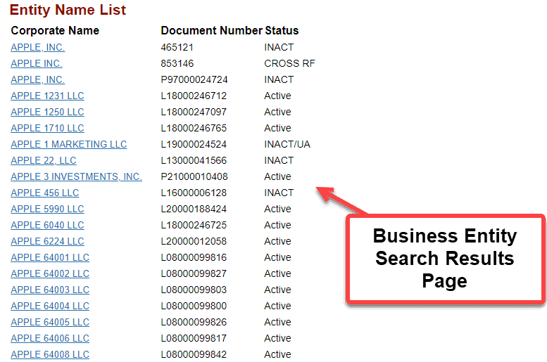 Florida Secretary of State Business Search - Step 3 Business Entity Search Results Page