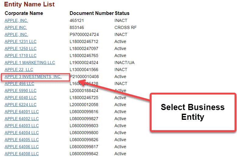 Florida Secretary of State Business Search - Step 4 Select Business Entity
