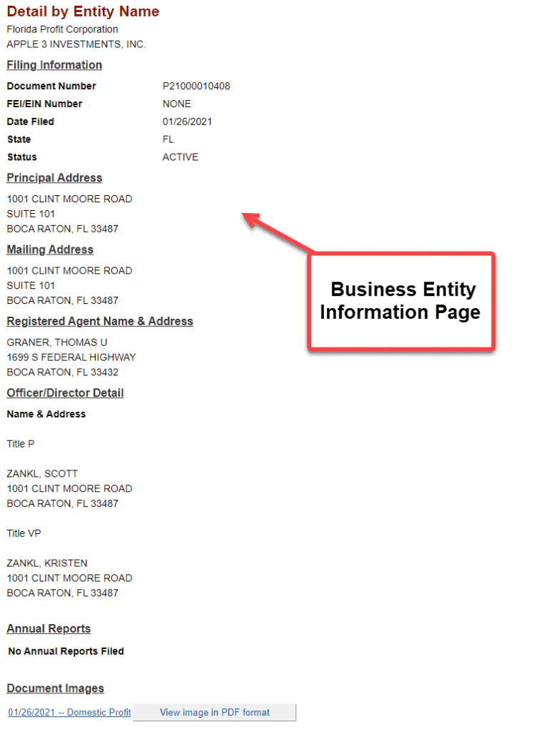 Florida Secretary of State Business Search - Step 5  Business Entity Information Page
