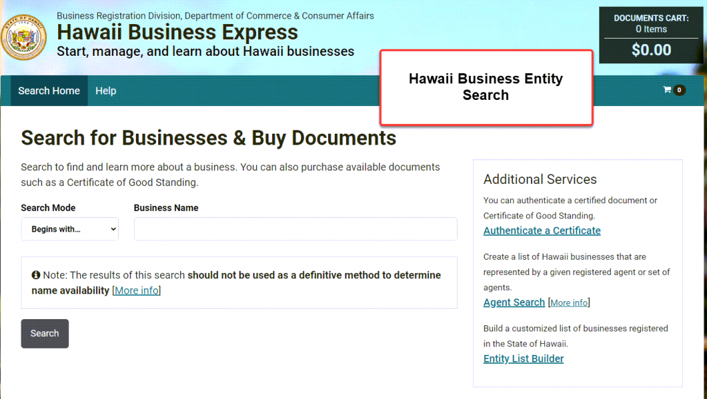 Hawaii Business Search - Step 1 Business Search Registry