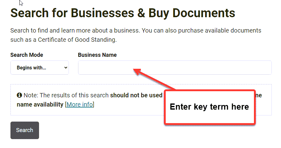 Hawaii Business Search - Step 2 Method 1 Search by entity name