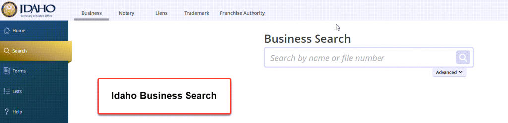 Idaho Secretary of State Business Search - Step 1 Business Search Registry