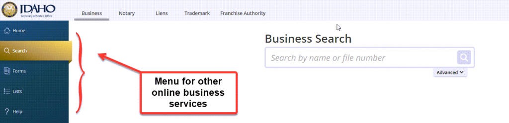 Idaho Secretary of State Business Search - Step 1 Business Search Registry - Other Menu